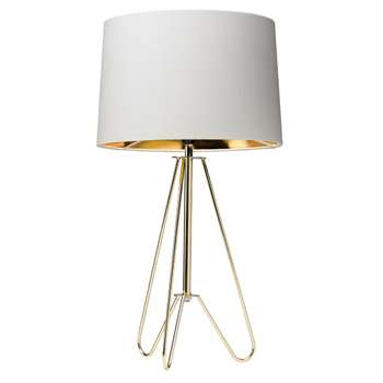 Ziggy Table Lamp Gold/Cream (H49 x W27 x D27cm)