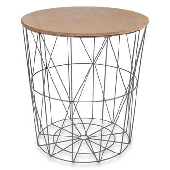 ZIGZAG grey metal side table (41 x 40cm)