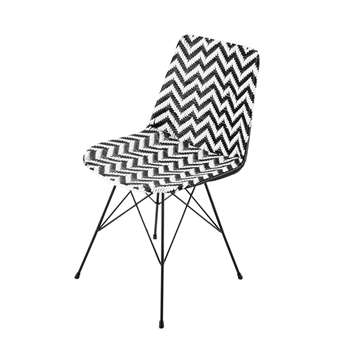 Zigzag Wicker and metal chair in black / white (81 x 47cm)
