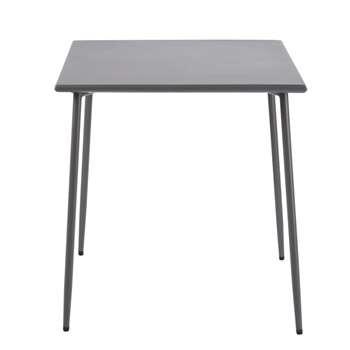 ZINAV Anthracite Grey Metal 4-Seater Garden Table (H74 x W70 x D70cm)