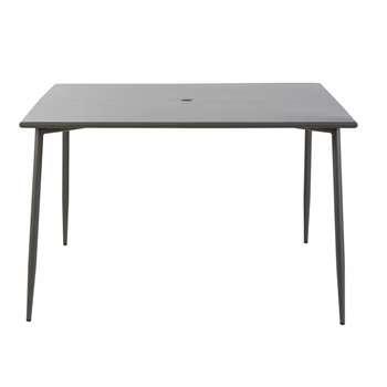 ZINAV Anthracite Grey Metal 8-Seater Garden Table (H73 x W120 x D120cm)