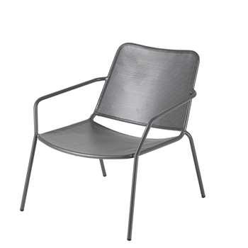 ZINAV Anthracite Grey Metal Low Garden Armchair (H71 x W68 x D74cm)