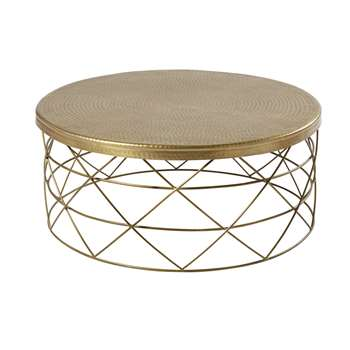 ZIRKA - Gold Metal and Aluminium Coffee Table (H34 x W81 x D81cm)