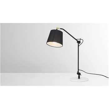 Ziva Arc Overreach Table Lamp, Black & White Marble (H53 x W39 x D22cm)
