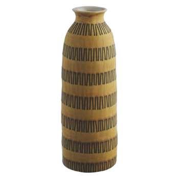Zizi Yellow zigzag patterned ceramic vase