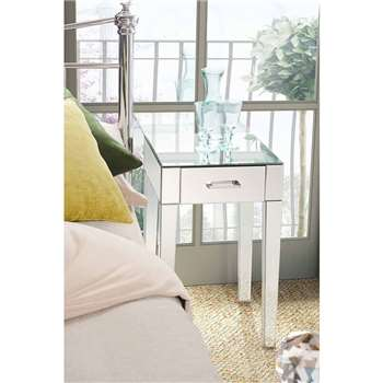 ZOE Mirrored Bedside Lamp Table with Single Drawer (66 x 40cm)