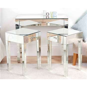 ZOE Mirrored Dressing Table & Pair of Mirrored Bedside Tables (80 x 90cm)